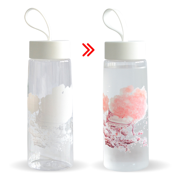 Lovely Design Magic Glass Cup the Color Will Changing Once Pouring Cold Liquid For Promotion