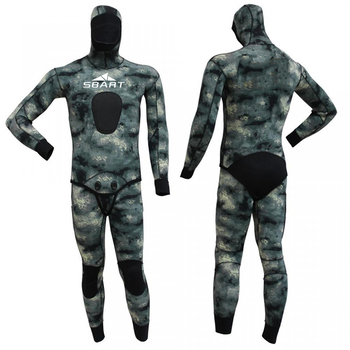 SBART new customized design 2pcs sets camo neoprene 3-7mm open cell spearfishing wetsuit