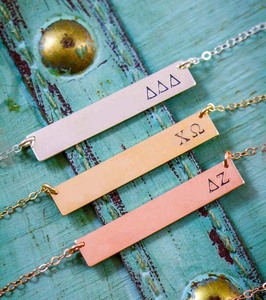 Metal Bar Jewelry Rose Gold Sorority Big Sister Reveal Necklace