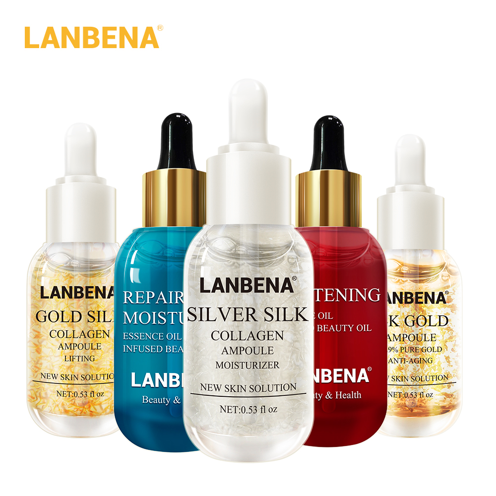 นาฬิกา LANBENA Ampoule เซรั่มผิว Essential น้ำมัน Hyaluronic Acid Face Cream Whitening Firming Moisturizing Collagen Skin Care