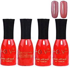 Kaifina 4PCS OV Red Bottle Soak-off UV Gel Set Top Coat+Base Gel+2 UV Color Builder Gel(No.41-42,15ml)