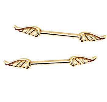 Gold Angel Wings Silver Barbell Nipple Rings Piercing Nipple Jewelry