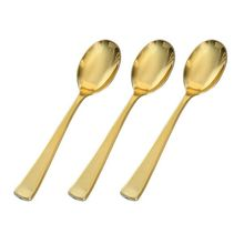 Disposable Heavyweight Polished Gold Plastic Plated Cutlery Set