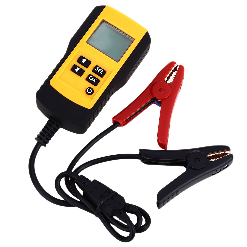 Wisamic 12V Digital Car Battery Tester Automotive Battery Load Tester and Analyzer of Battery Life Percentage,Voltage, Resistance and CCA Value For Flood, Gel, AGM, Deep Cycle Battery
