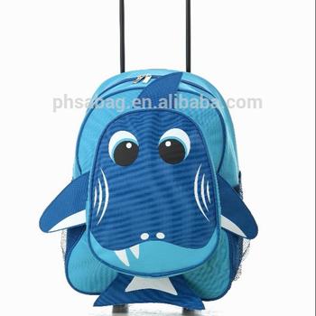 e3812429762 600d mooie haai zee blauw gezicht schooltassen trolley school rugzak trolley  tas voor jongen