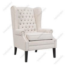 Classic single seater upholstery button tufted home chesterfield queen anne high back wing chair