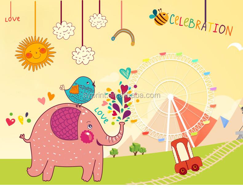 Sk9107 Magical Elephant Cartoon Animal Wall Sticker Kid Nursery Diy ...
