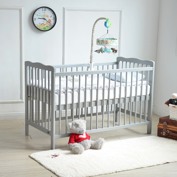 Solid Wood Low Factory Price Grey Clour Wooden Baby Crib