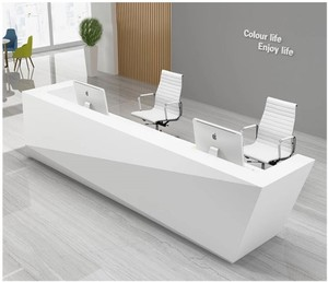 Modern reception counter desk commercial semi-circle reception desk with cabinets, reception desk for hotel furniture