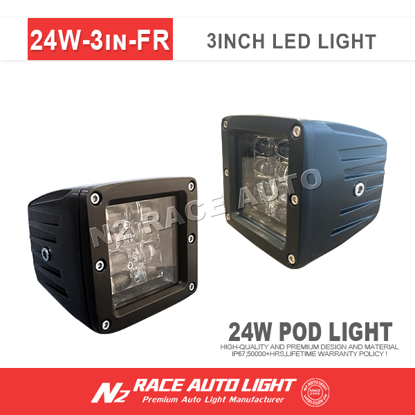 combo driving light 24w 2 inch led pod cube 4row work light for truck motorcycle jeep atv