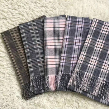 Wholesale plaid acrylic multicolor tassel winter tartan scarf