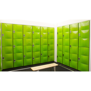 Green sports steel clothes single door locker cabinet with coin locks