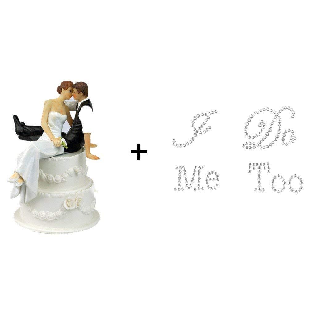 "TtoyouU Wedding Cake Topper Love Bride and Groom Figurine+2 Wedding Rhinestone Shoes Applique Decals Stickers ""I Do"" & ""Me Too""-Wedding Selection (Wedding Cake Topper + Silver Wedding Shoes Stickers)"