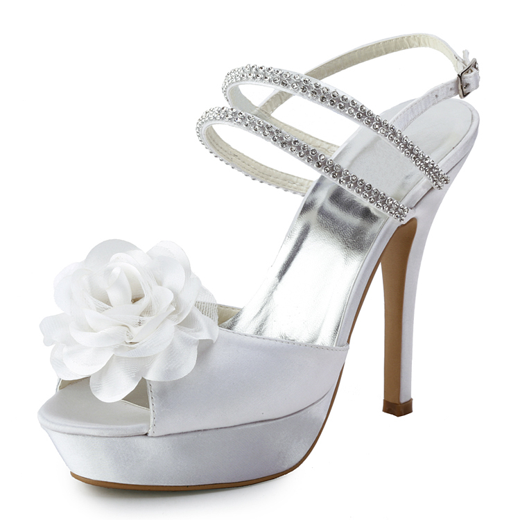 af95055ce216 Get Quotations · 2015 High Heel 12cm Summer Elegant Satin Peep Ladies Wedding  Shoes Rhinestone White Platform Shoes