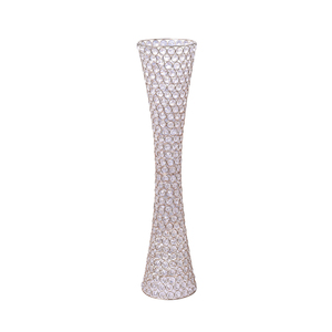 Flower stand crystal beaded gold metal frame tall vases wedding centerpiece