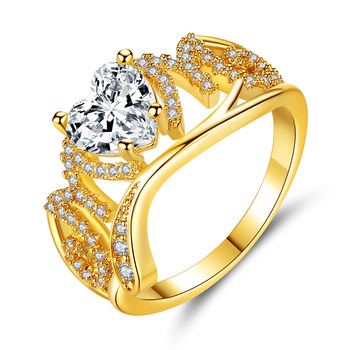 Hainon gold jewelry Luxurious shiny white diamond drill bit engagement ring women rose gold fashion jewelry 2018 rings Cute