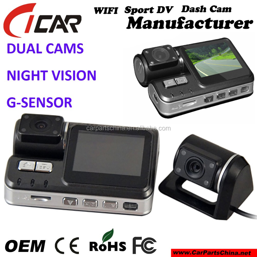 Factory Offer Dual Lens Car Camera GPS Car DVR 1080P Dash Cam Black Box Rear 2 Cam Vehicle View Car Recorder