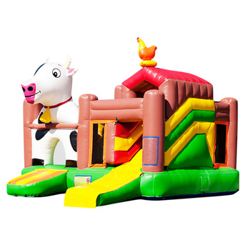 Commercial Inflatable medium ranch bounce,bouncing house,cow bounce house with small slide