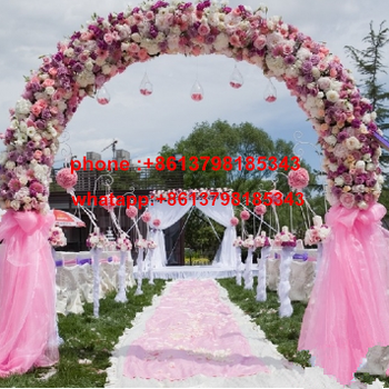White Wedding Arch For Sale With Artificial Cherry Blossom Flowers Stage