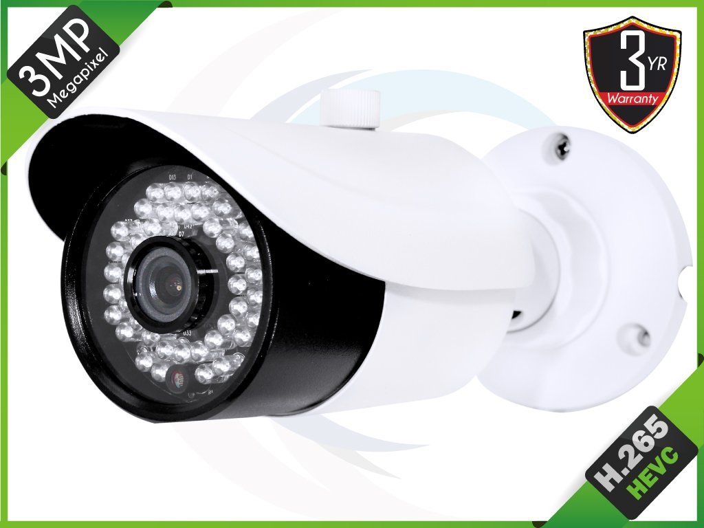 "HQ-Cam 1/3"" 3MP HD H.265 Bullet StarLight Security Camera3.6 MM Fixed Lens Day Night Vision 42 IR LEDs Distance"