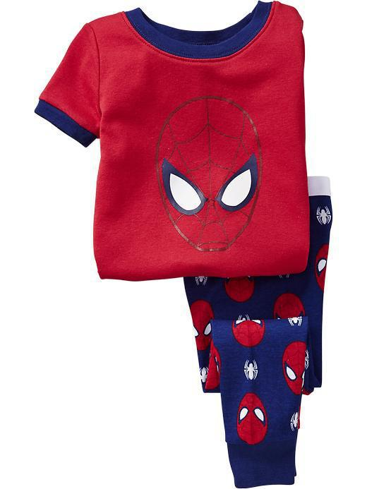 children boys clothes set summer homewear with spider-man spiderman 2pcs/set T-shirt + cropped pants red baby boys nightclothes