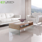 Living Room Tempered Glass Top Coffee Table With Wooden Drawer