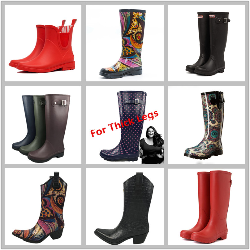 Fashion Girl Outdoor  Waterproof Shoes Women Ankle Rubber Rain Boot For Wholesale