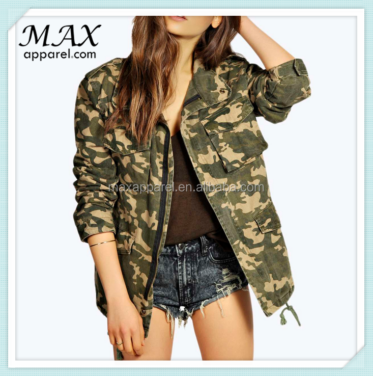 Wholeasle women zip jackets Custom army print contrast fabric jackets camouflage outwear jackets
