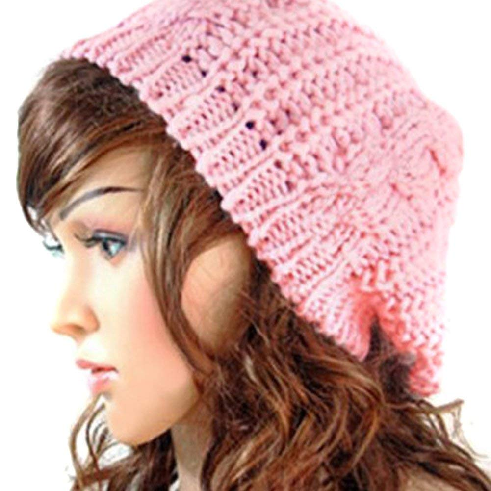 JOVANA New Arrival Top Fashion Winter Warm Women Lady Yong Girls Baggy Beret Chunky Knit Knitted Braided Beanie Hat Ski Cap Crochet Knitted Hat Knitted Crochet Oversized Slouch Hat for Women (Pink)