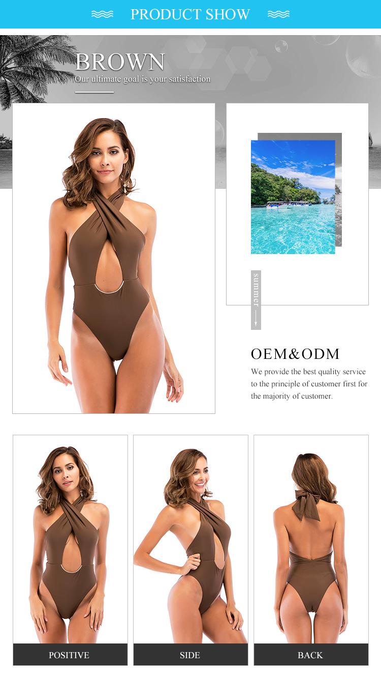 564d33beaf7 Teenage Girls Sexy White Bikini & Beachwear Hanging Neck Hollow One-Piece  Swimwear Old Women