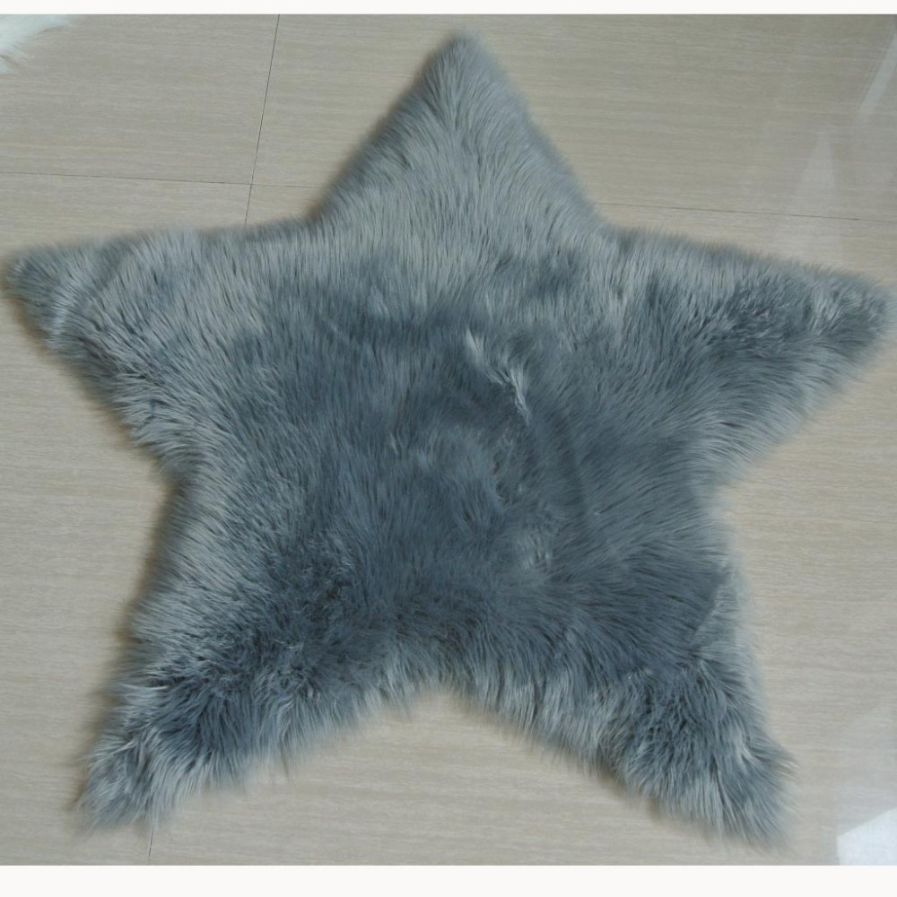white star shape artificial faux fur rug - Faux Fur Rugs