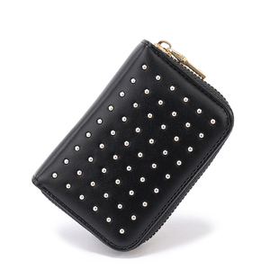 Rivets insert design wholesale PU zip card holder coin accordion wallet