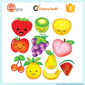 etiqueta engomada del pvc transparente dibujos animados frutas