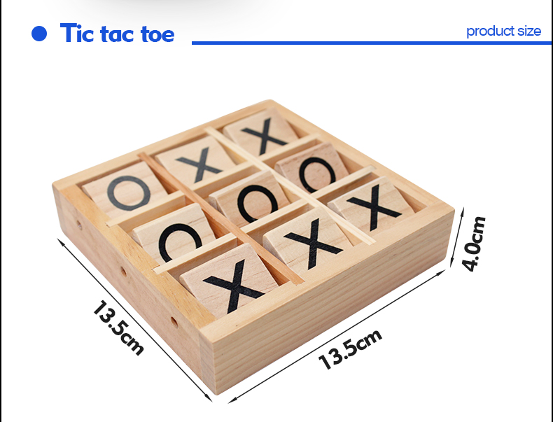 custom design mini board game tic tac toe game pieces made of bamboo