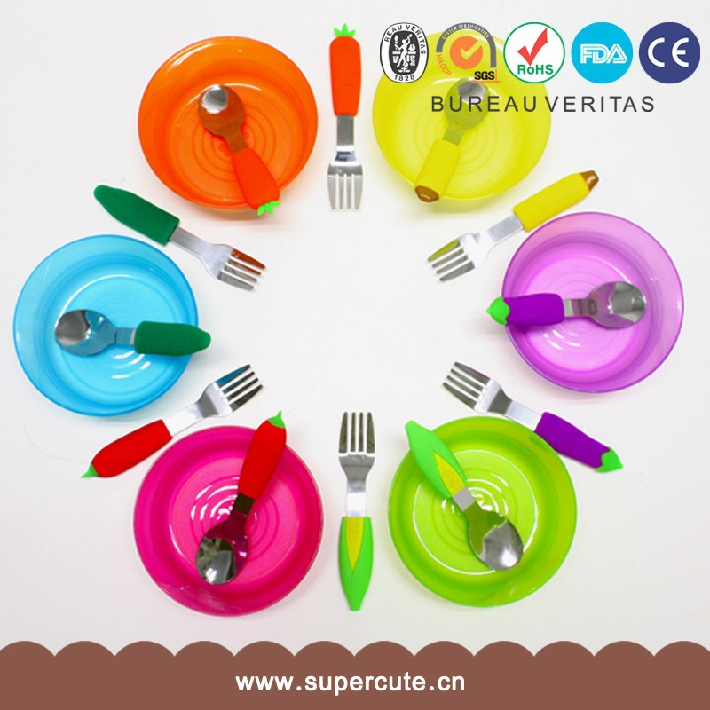 Many color Silicone+stainless iron material fork and spoon set