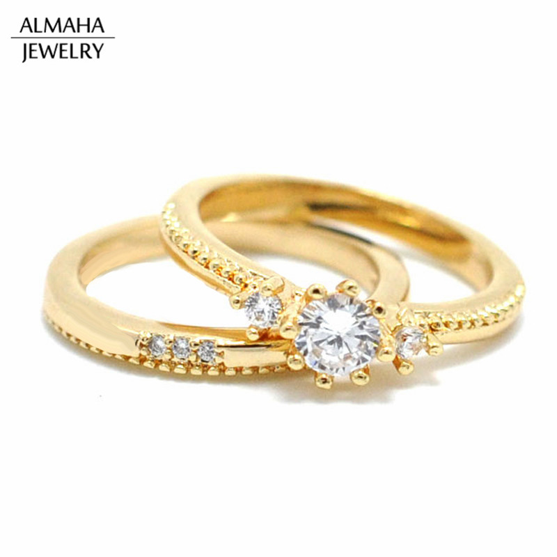 Western Ladies Jewellery 18k Diamond Wedding Engagement Gold Ring Sets For Girls