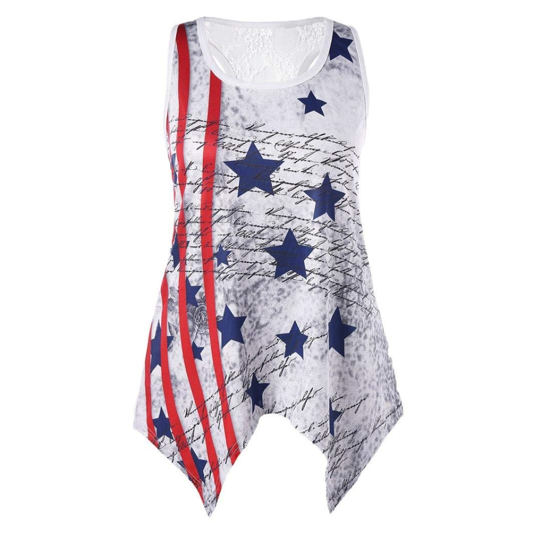 a45e6015b86c55 Get Quotations · Summer Print American Flag Tank Top for Women Juniors  Hollow Racerback Sleeveless Tops Loose T-