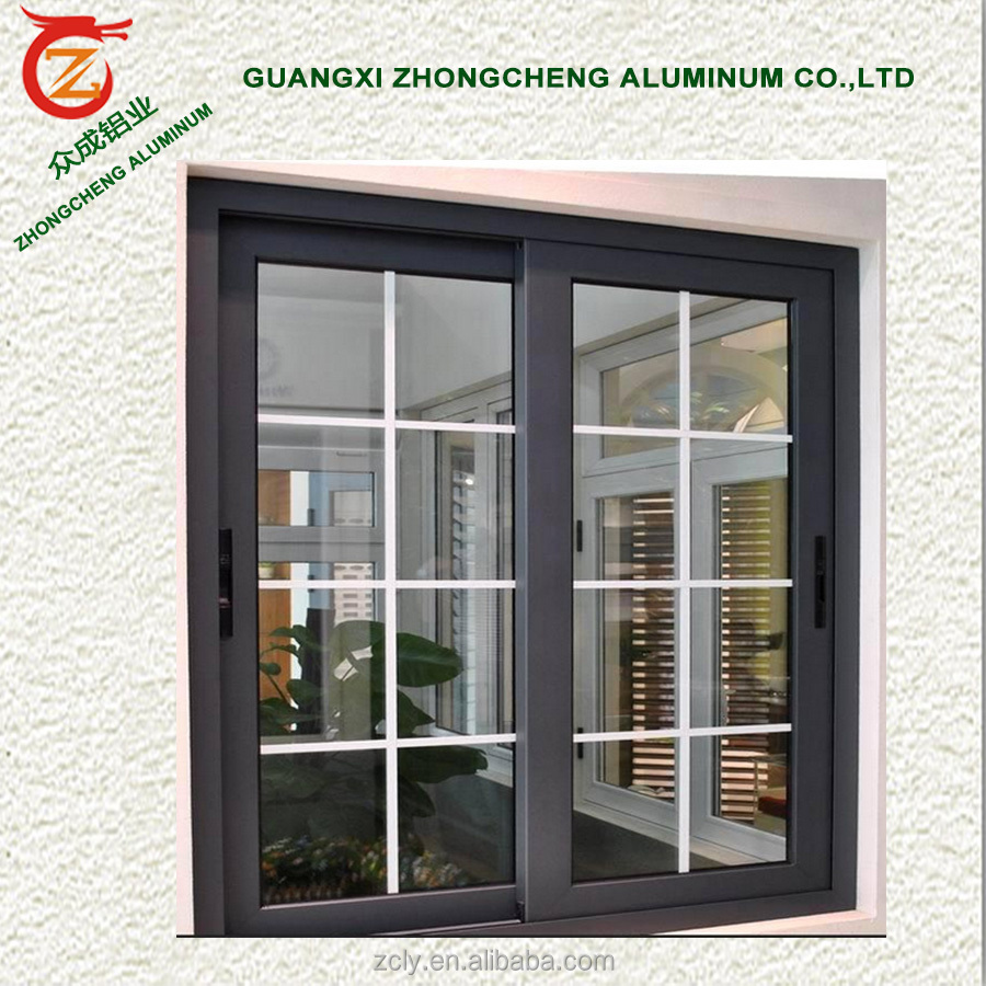 Competitive price window grill design image with top quality aluminum alloy and tempered glass windows