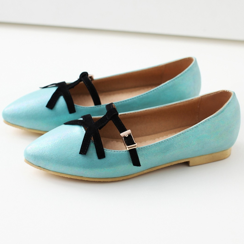 online store 4b01f def96 Get Quotations · 2015 Summer style women flats Mint green color Pointed toe  Plus size Shoes Flat heels Cheap