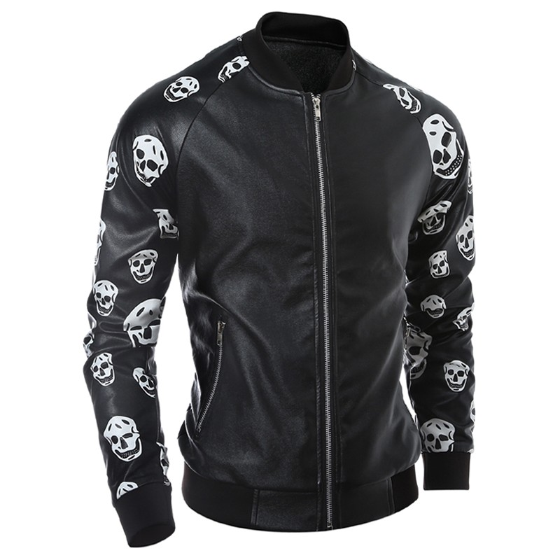 Moda uomo autunno caldo Skulls pelle giacca impermeabile Streetwear soprabiti in pelle Mens umano pelle scheletro in pelle scamosciata europea S1905