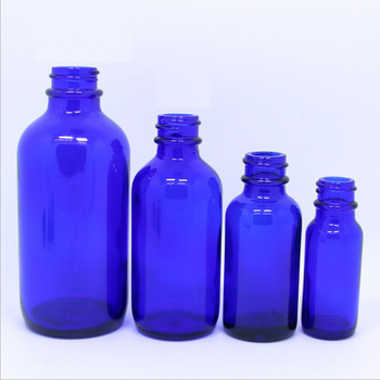 8oz Cobalt Blue Clear Glass Cosmetic Bottles