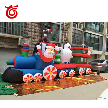 wholesale giant inflatable christmas traininflatable santa with camper