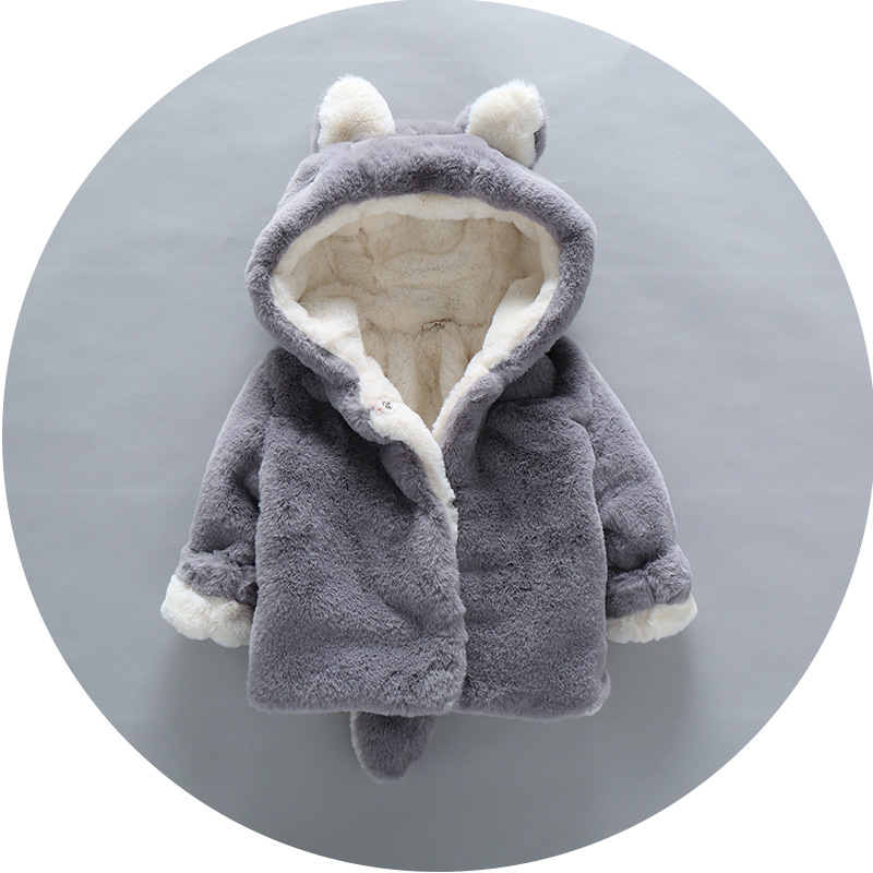 ZH01999B wholesale children's clothing faux fur outerwear coat with hood