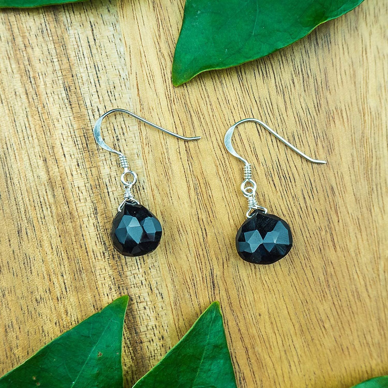 21b8a5209 Get Quotations · Black onyx crystal teardrop dangle earrings in 925 sterling  silver - July birthstone