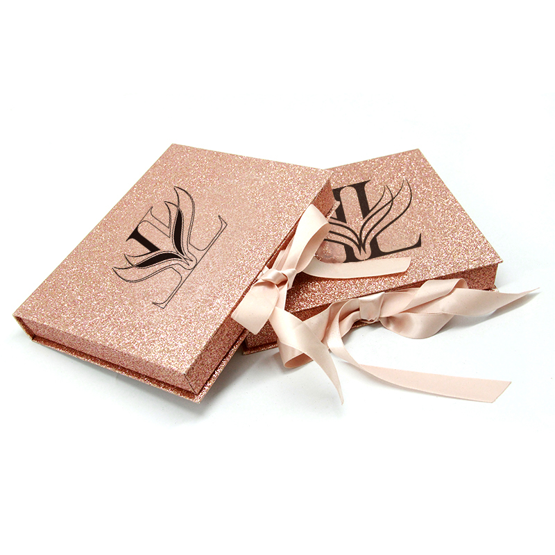 Custom Luxury Mink Eyelashes Packaging Box Rose Gold Glitter Paper lashes packages with mirror