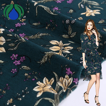 Shaoxing new products beautiful elastic 100% polyester flower print fabric