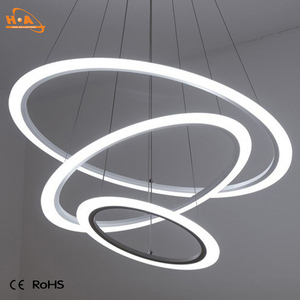 Modern led acrylic home hanging light ring pendant lamps