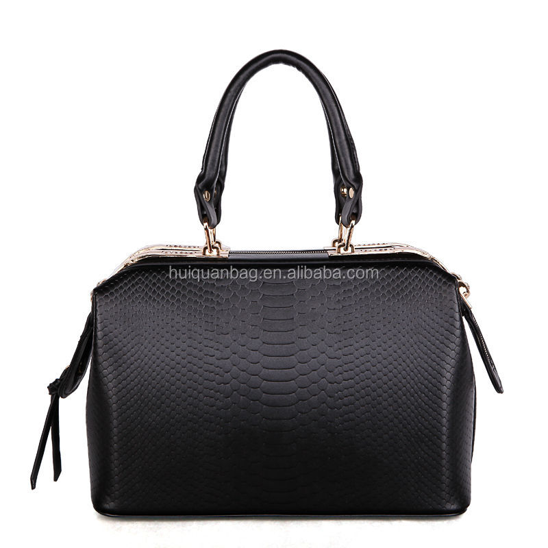 QDL001 Classical Snake Pattern PU Leather handbag/2 color White or Black