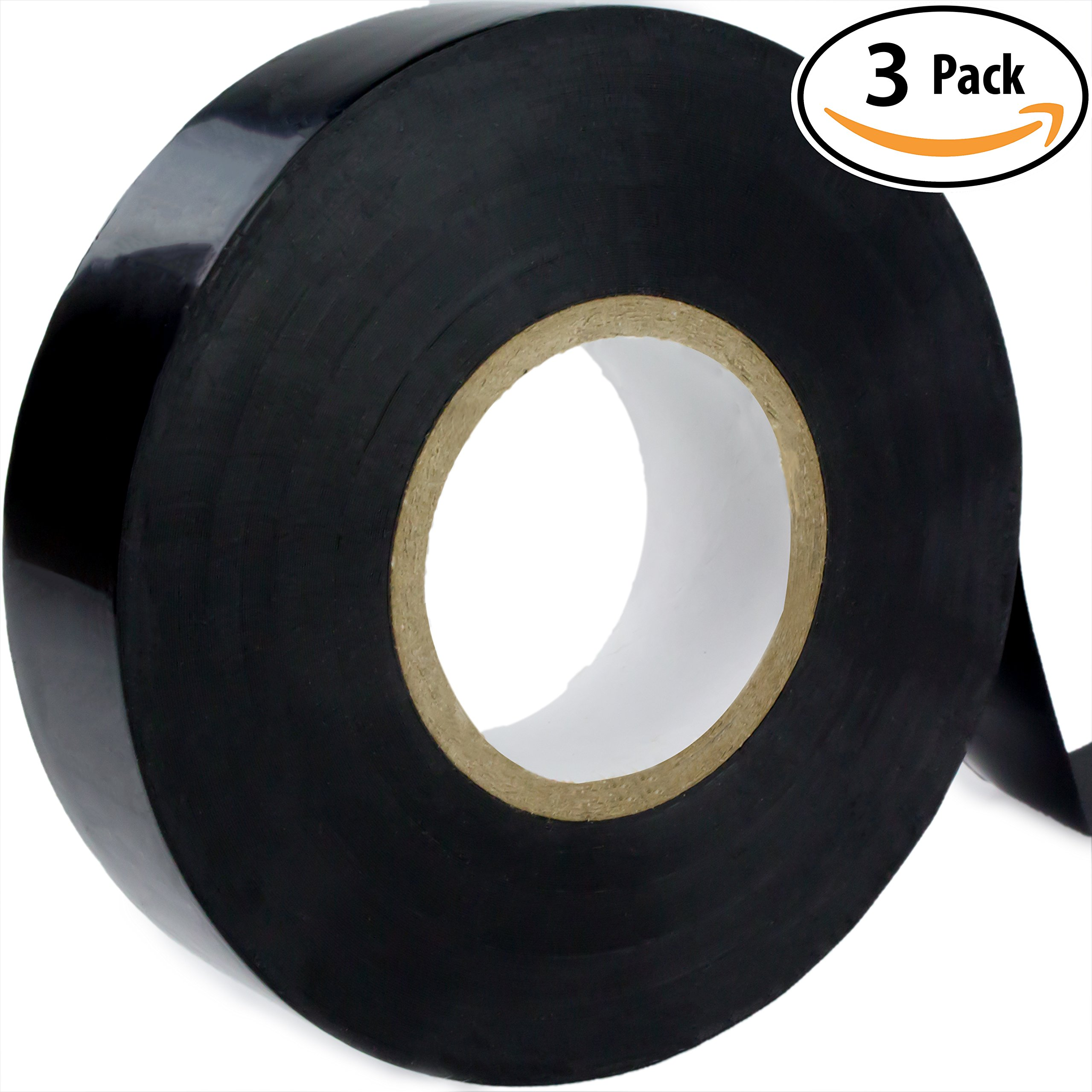 Nova Supply Professional-Grade Black Electrical Tape 3 Pack. 3/4 in x 60 ft. Made of Flame Retardant, UV & Weather Resistant Vinyl. UL & CSA Certified for Industrial Uses Insulating Up to 600V