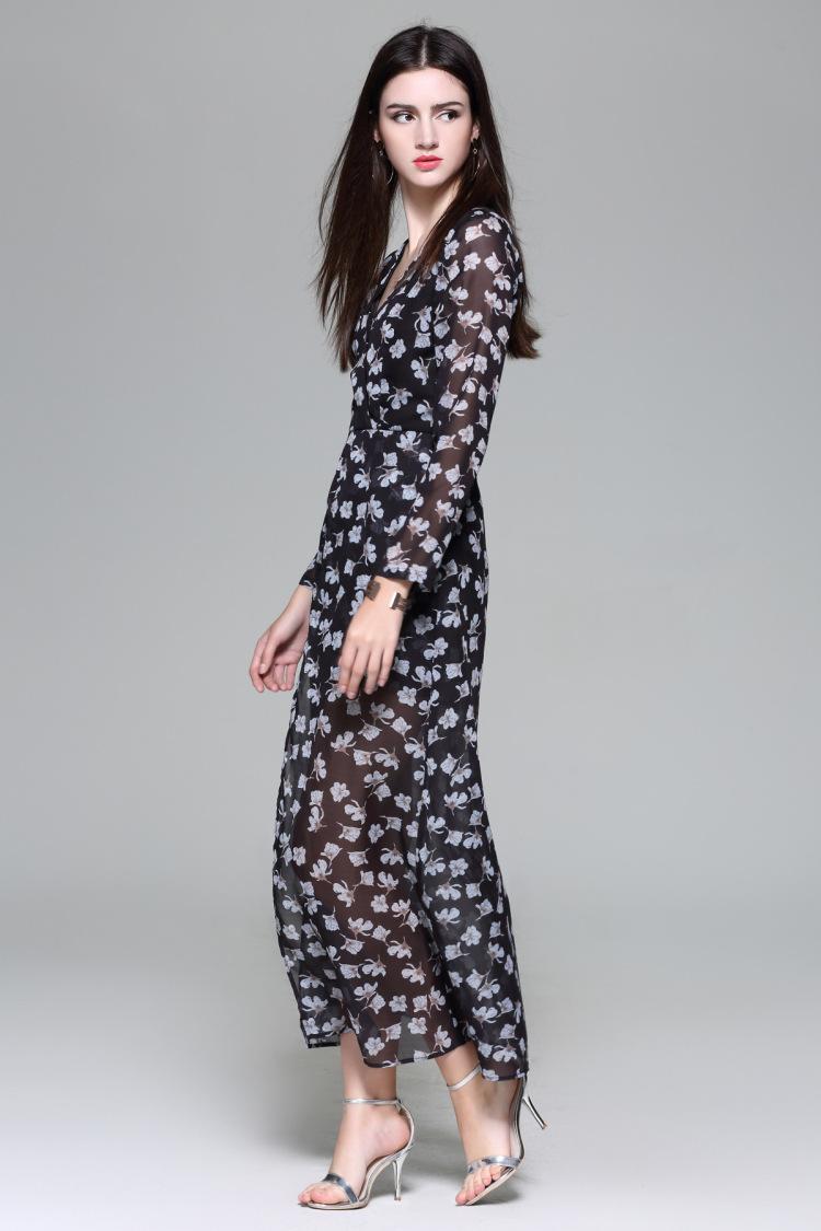 V Neck Short Pants Long Skirt Fashion Bohemia Print
